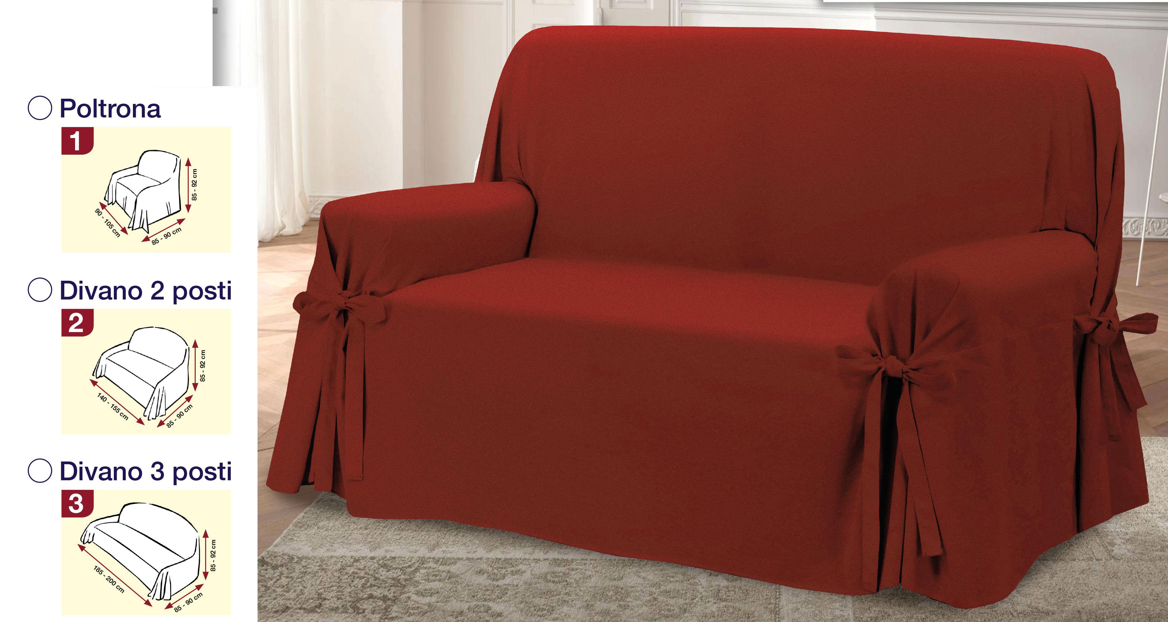 Copridivano 3 misure jacquard rosso copripoltrona laccetti for Misure divani angolari 3 posti