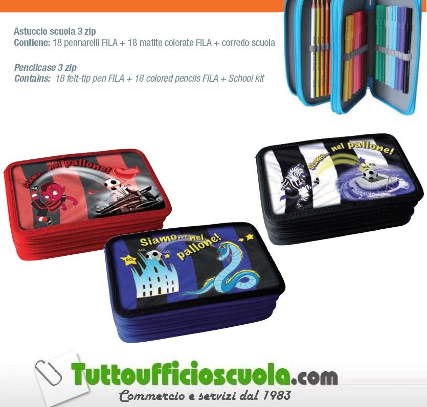ASTUCCIO-A-3-ZIP-SCUOLA-PORTAPENNE-PENCIL-BAG-MILAN-JUVENTUS-INTER-ROMA-NAPOLI