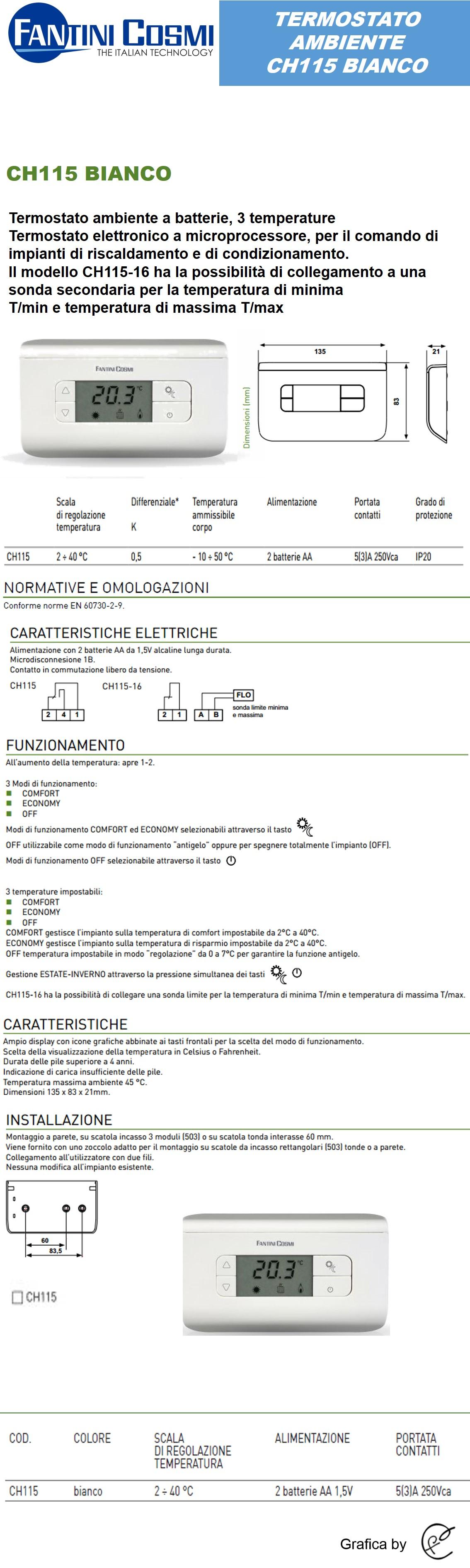 Termostato digitale microprocessore 3temperature ch115 for Fantini cosmi ch115