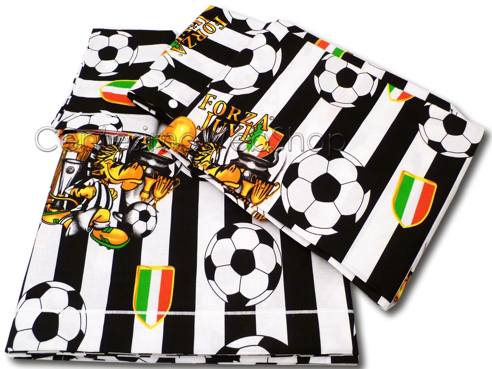 Lenzuola Matrimoniali Juventus.Completo Lenzuola Singolo Calcio Bianco Nero Juve Una Piazza Idea