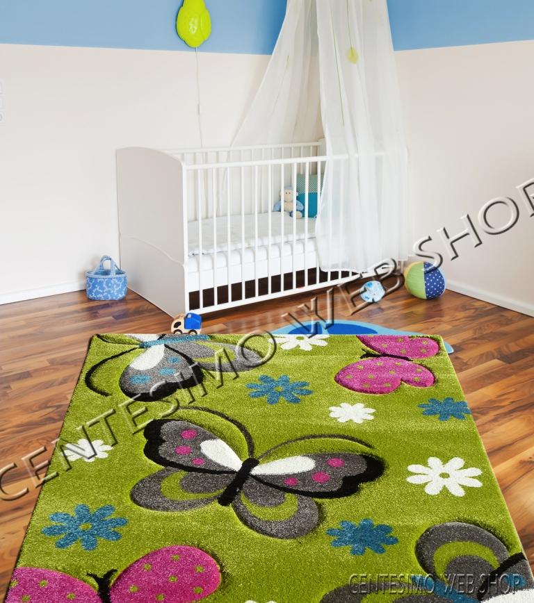 tappeto cameretta 100x140 cm bimbo bimba farfalla verde