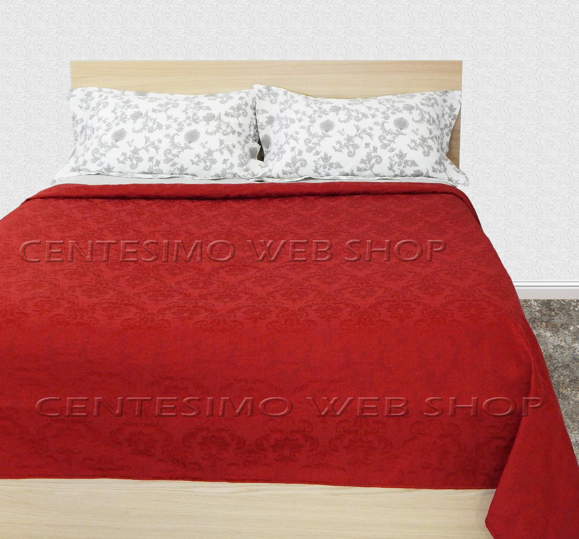 Copriletto matrimoniale maxi made italy 270x300 damascato rosso due piazze 54270 ebay - Copriletto matrimoniale rosso ...