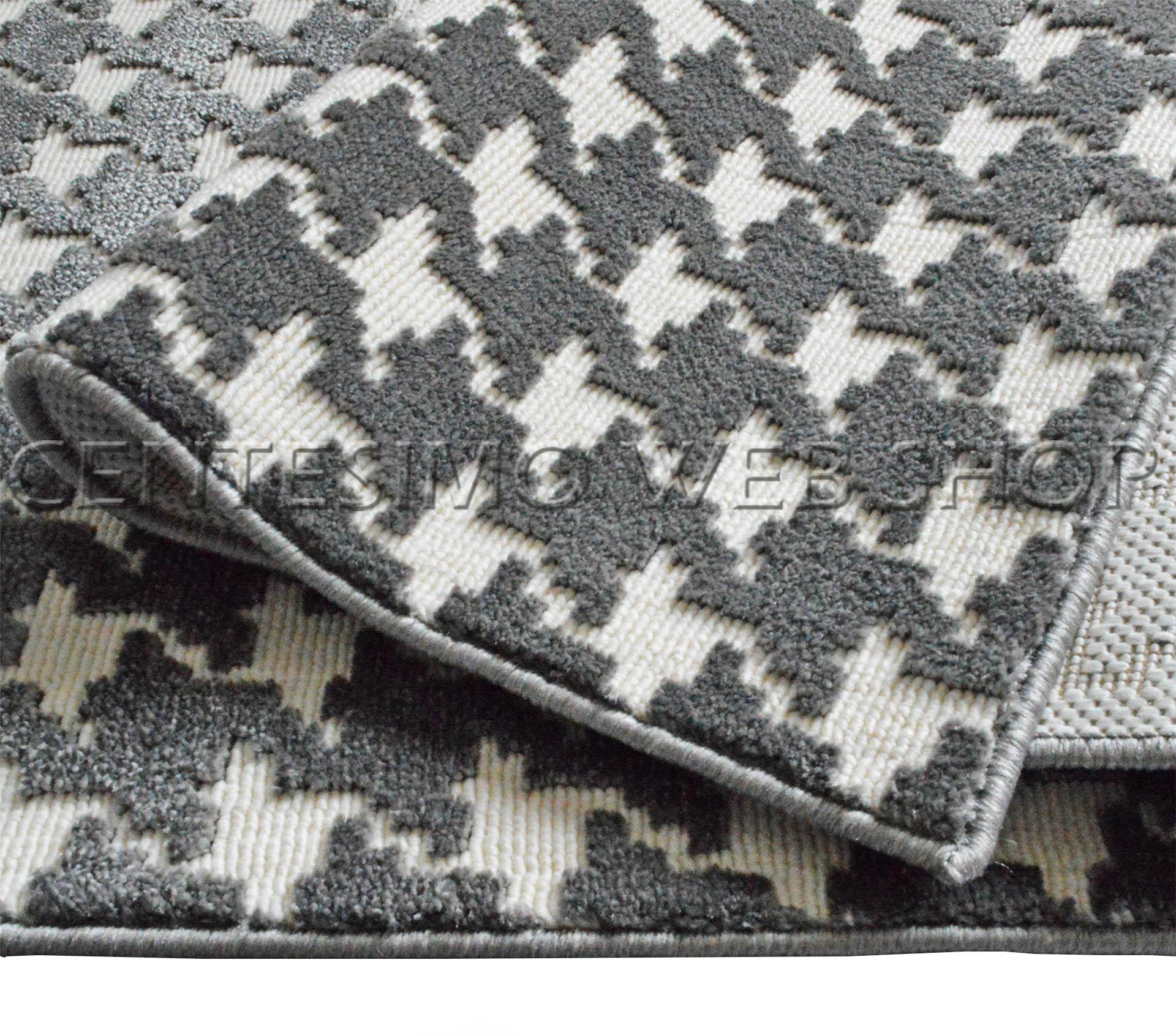 tappeto moderno 3 misure arredo sala camera pied de poule grigio