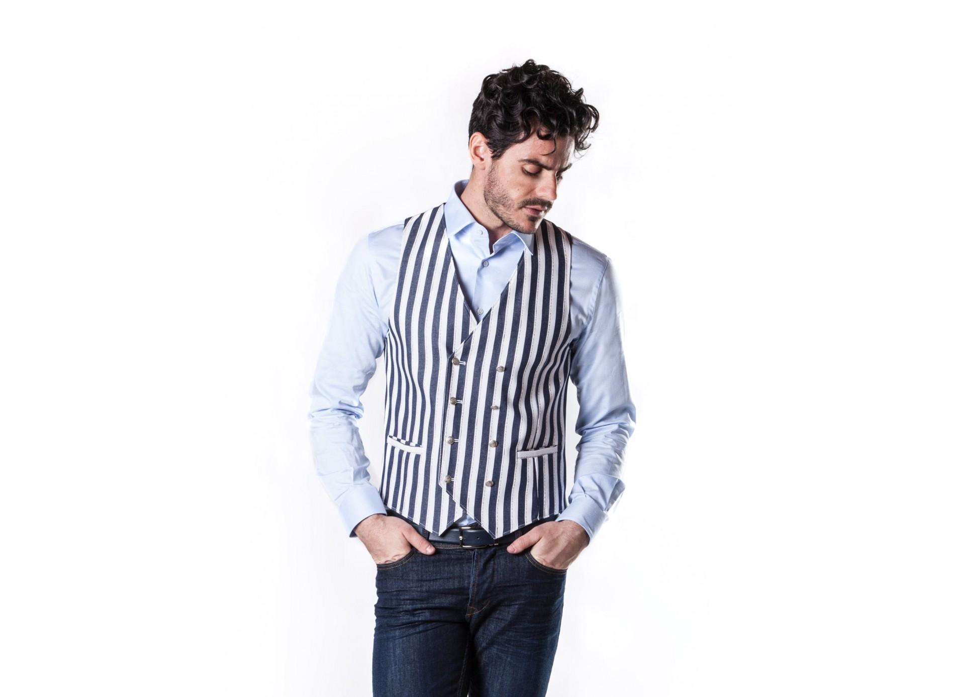 Blazer Jersey Taglia 52 Bianco Nero a Strisce Strisce Giacca Struttura Nuovo