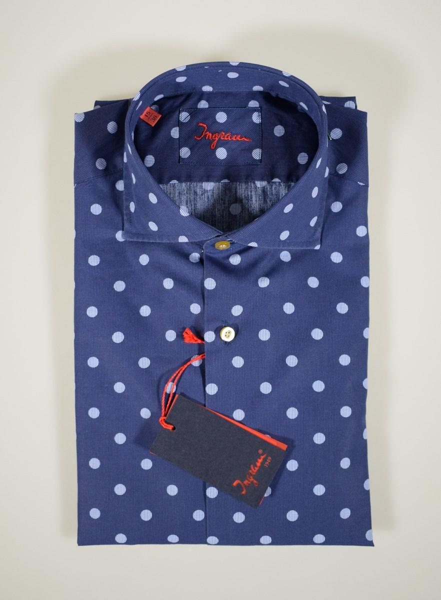 Camicia SLIM FIT bianca POIS BLU colletto francese aderente cotone fantasia uomo