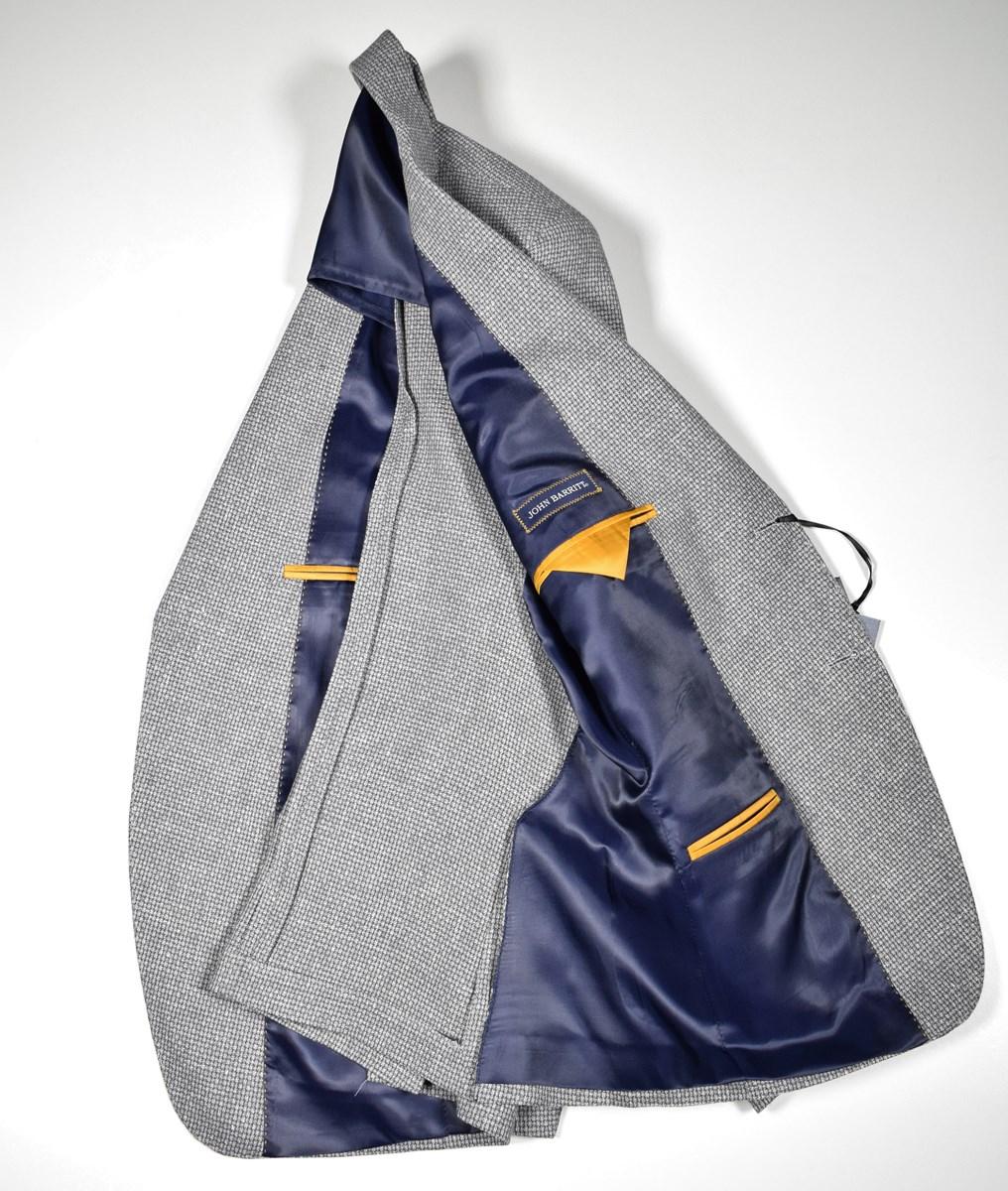 Giacca Blazer Grigio John Barritt Con Toppe Slim Fit Sfoderata Cotone E Lino Men's Clothing Clothing, Shoes & Accessories