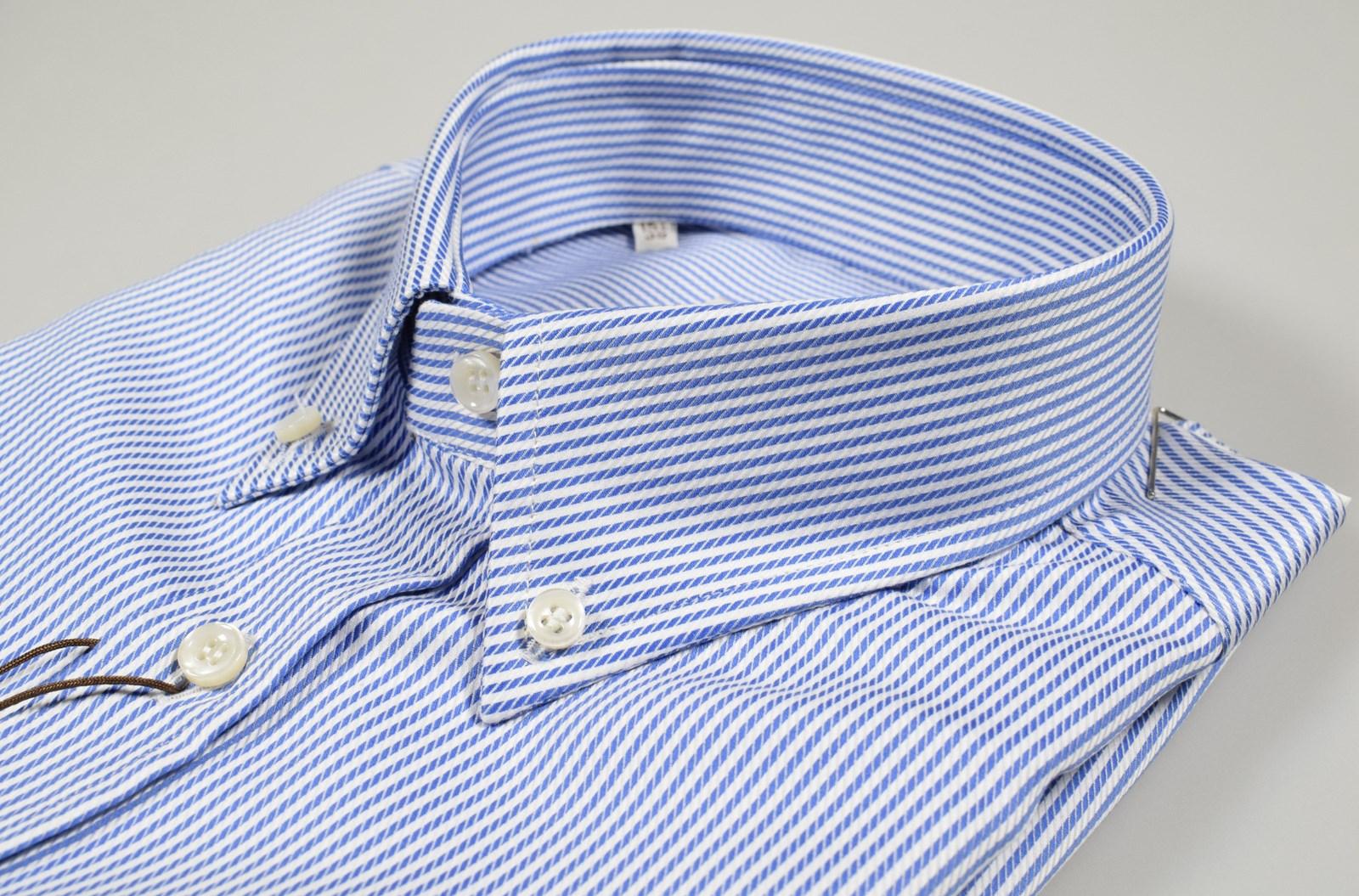 Camicia uomo REGULAR FIT righe azzurre cotone botton down classica casual