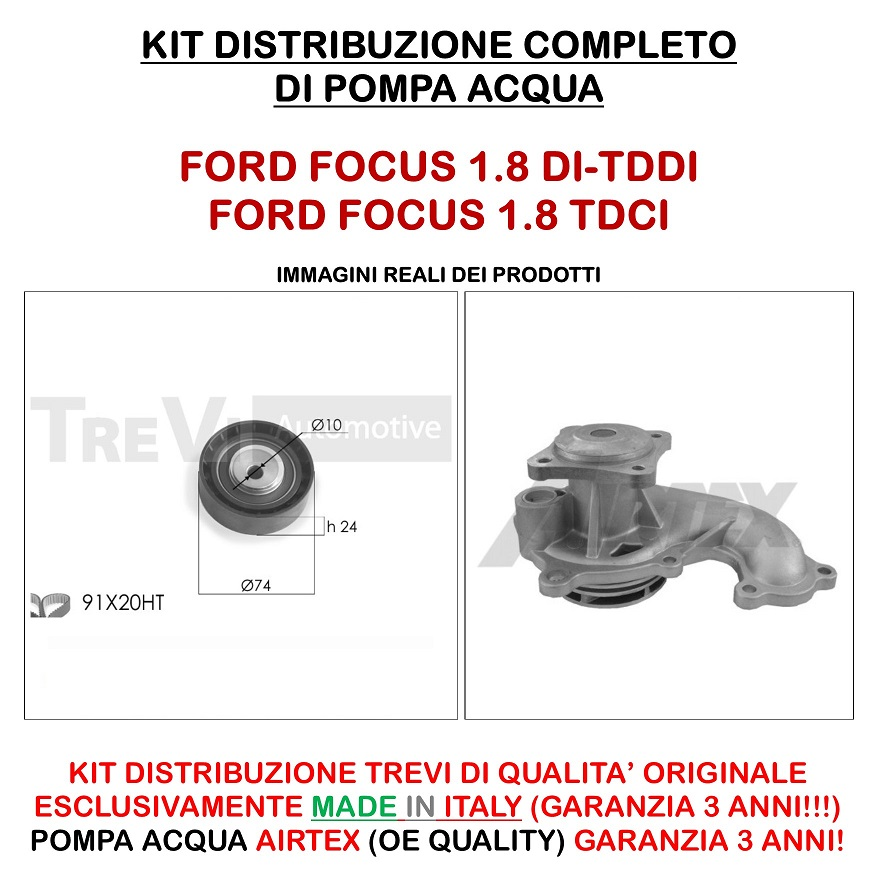 TDDi 66KW POMPA ACQUA FORD FOCUS SW 1.8 Turbo DI KIT DISTRIBUZIONE INA