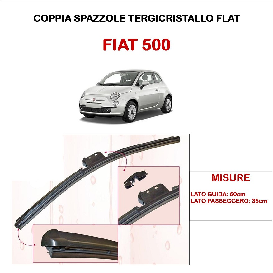 SPAZZOLE TERGICRISTALLO FIAT 500 TUTTI I MODELLI ASHIKA TERGI FLAT