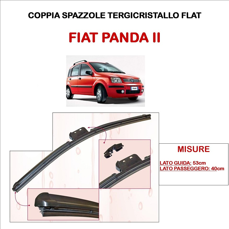 SPAZZOLE TERGICRISTALLO FIAT PANDA II TUTTI I MODELLI ASHIKA TERGI