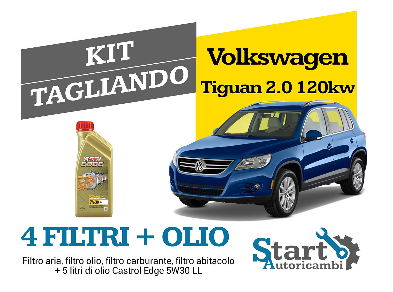 KIT TAGLIANDO 4 FILTRI VW TIGUAN 2.0 TDI 125KW 170CV DAL 2008 /> 2009