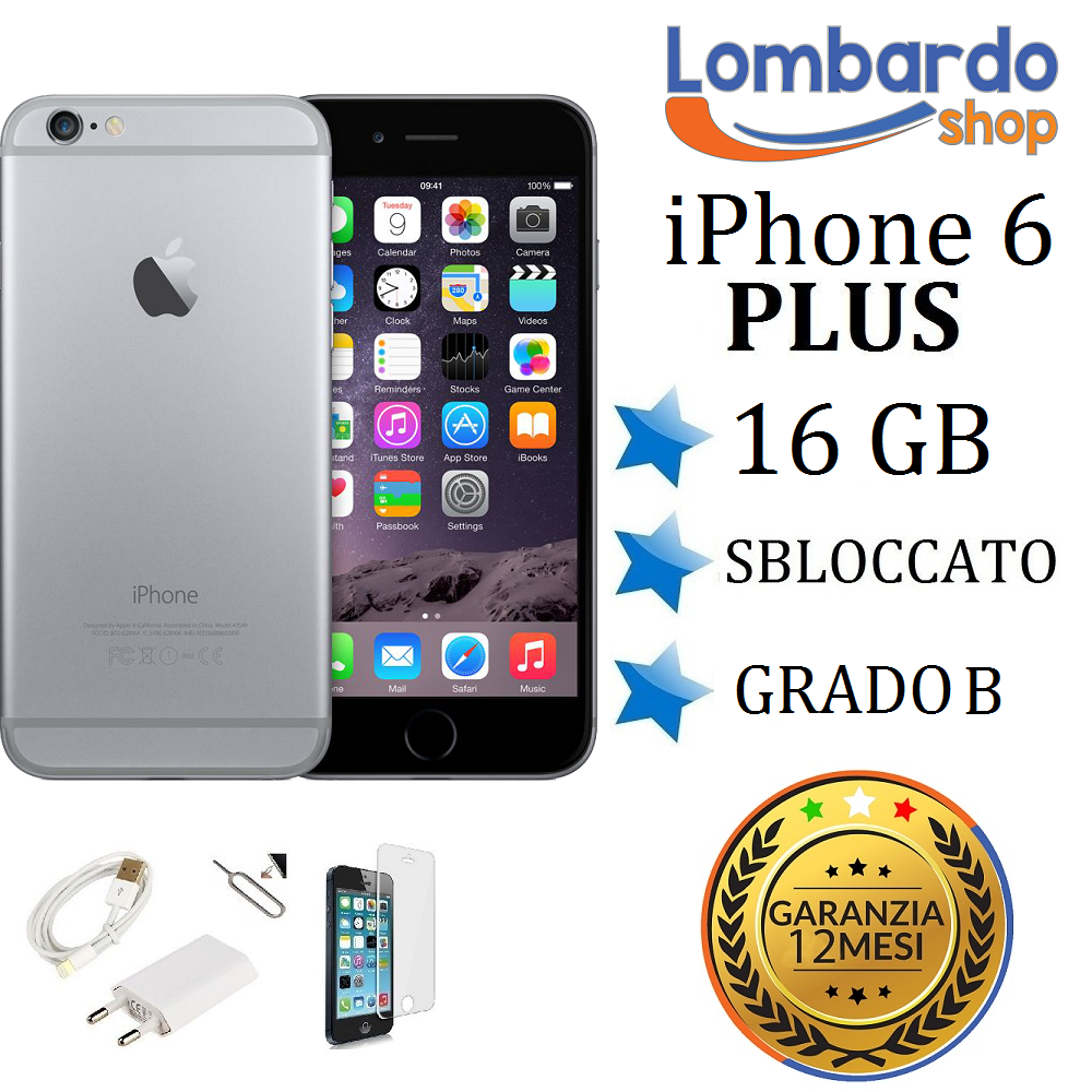 iphone 6 plus 16gb apple iphone 6 plus 16gb grado b nero grey rigenerato 2490