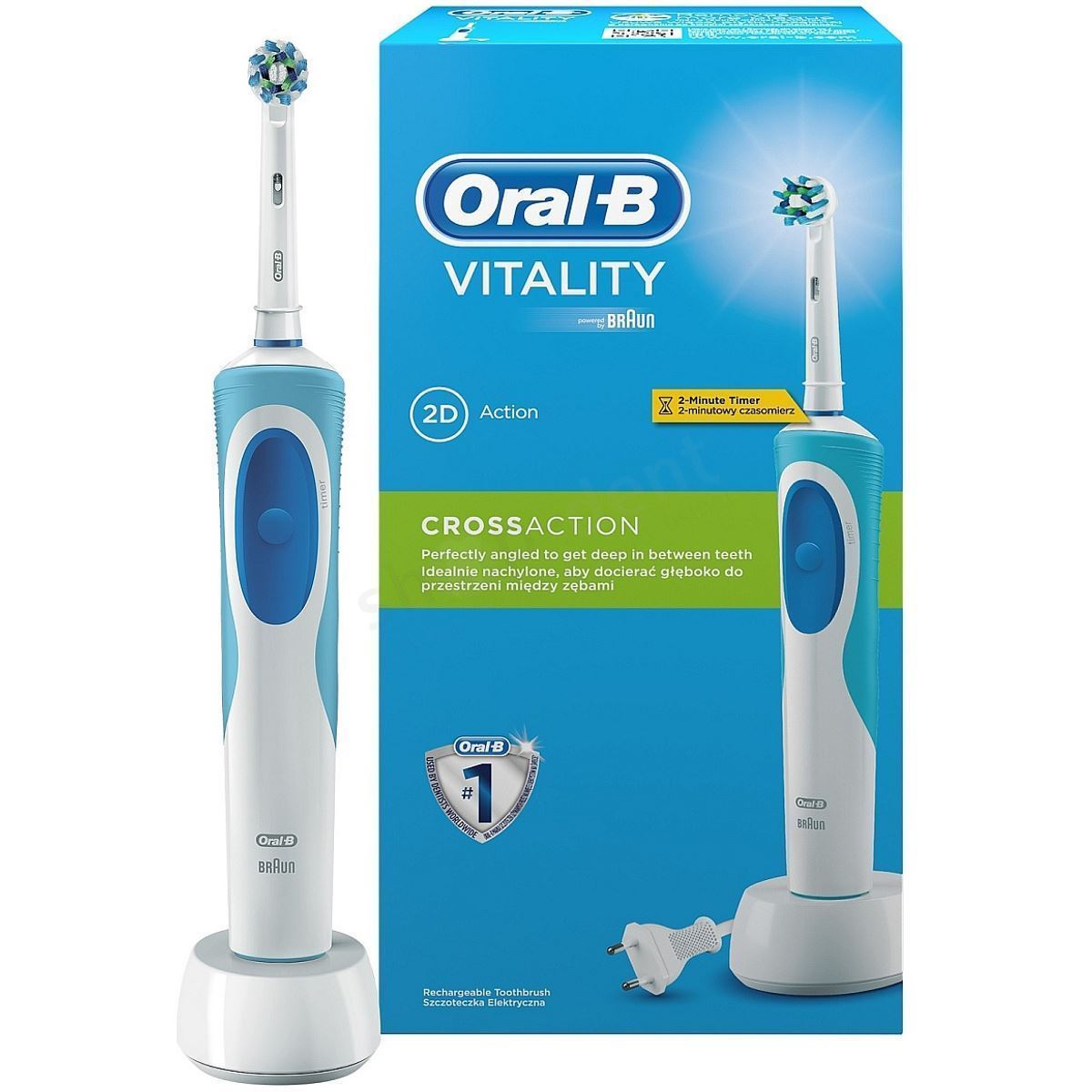 SPAZZOLINO ORAL-B RICARICABILE VITALITY CROSSACTION CON SUPPORTO