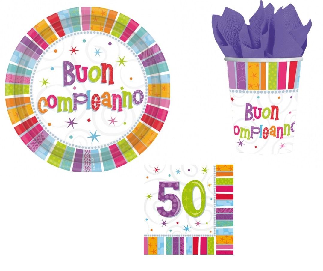 Dettagli Su Kit Compleanno 50 Anni Coordinato Tavola Addobbi Party Piatti Bicchieri Festa
