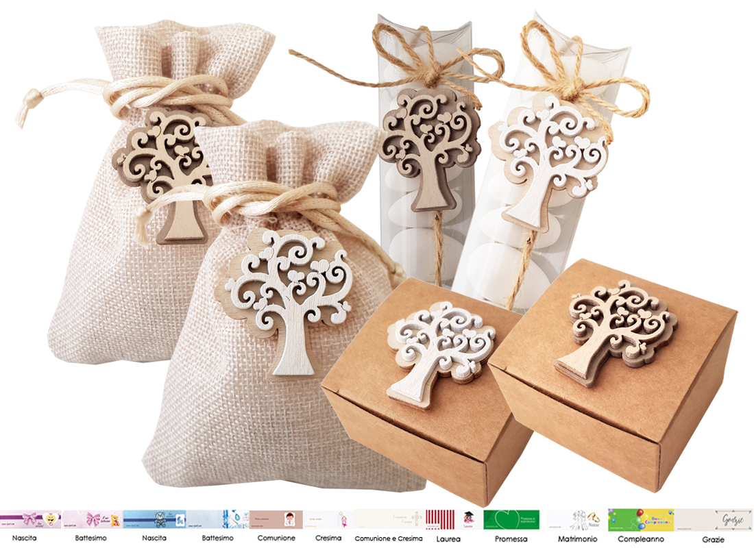 Kit Bomboniere Matrimonio Fai Da Te.Set Bomboniere Fai Da Te Albero Della Vita Rb594 Portaconfetti