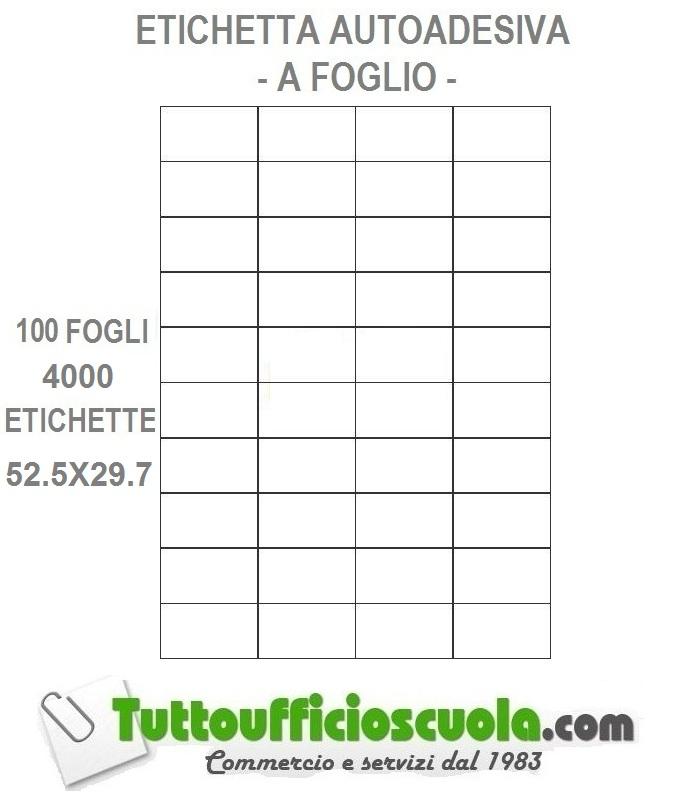 100 FOGLI A4 CARTA ADESIVA 200 ETICHETTE 210x148,5 mm APPTAC C509 INKJET LASER