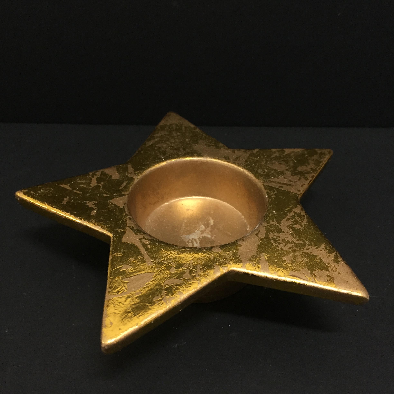 Stella Di Natale A 5 Punte.Dettagli Su Porta Candele Candela T Light Stella Di Natale 5 Punte Colore Oro Ceramica 12cm