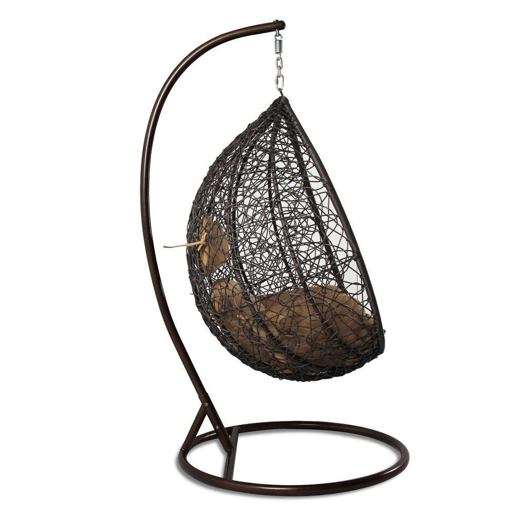 Sedia a dondolo sospesa in rattan per interno e esterno con cuscino clarissa ebay - Cuscino per sedia a dondolo ...